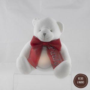 osito-lámpara-blanco-lazo-rojo-personalizado