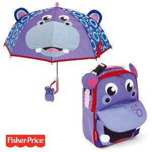pack-ahorro-mochila-paraguas-3d-fisher-price-hipopotamo