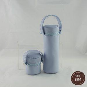 portabiberon-portachupetes-azul-bebe-piel-hecha-a-mano